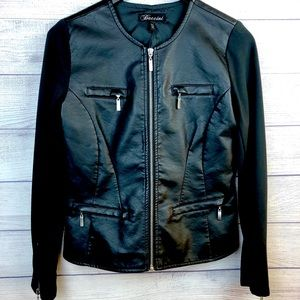 Baccini Faux Leather Black Motorcycle Jacket Small